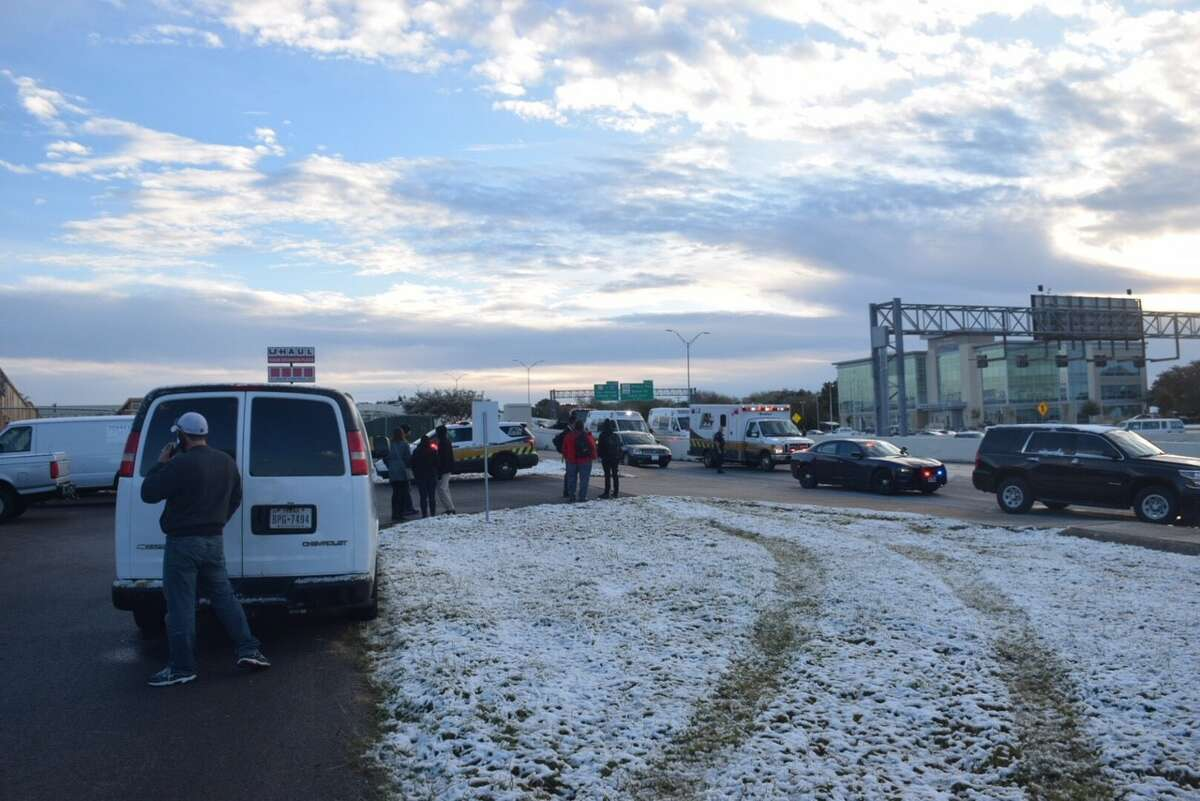 The NWS is projecting a hard freeze for Monday, Jan. 1, 2018 and there is a slight chance for freezing drizzle. TxDOT announced Thursday they are treating bridges and overpasses ahead of the expected cold front. Slick conditions after a night of snow and freezing temperatures likely contributed to this multi-car pileup along a ramp at Loop 410 and Jackson Keller on Friday morning, Dec. 8, 2017.
