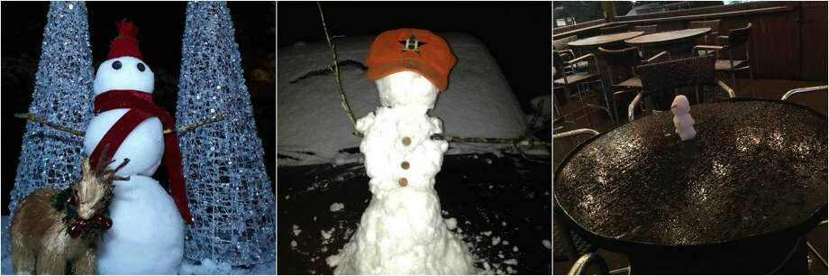 The snow in Houston has people making snowmen all over the city of varying sizes and dress. Photo: Reddit/Twitter