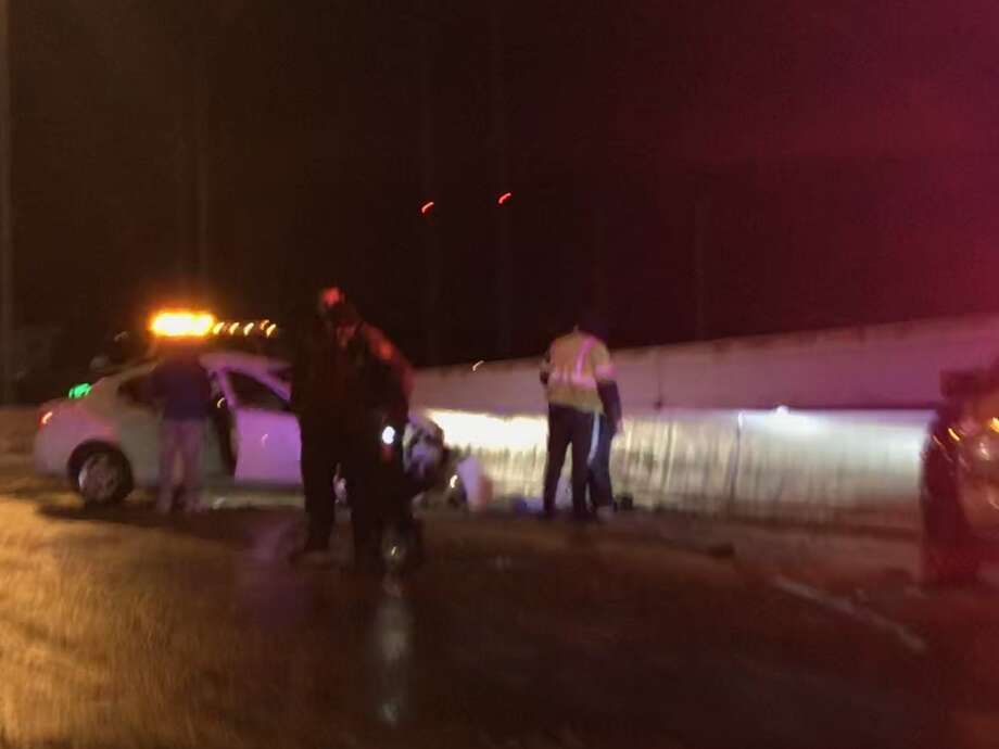 A vehicle crashed into this wall along the 610 West Loop South freeway, police said.