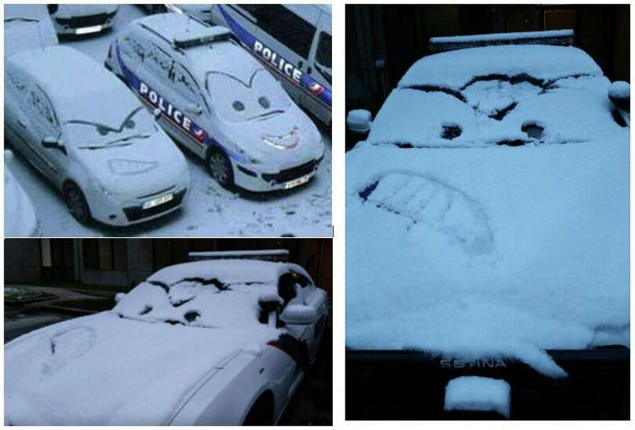 "The Montgomery County Sheriff's Office used the snow to turn their district patrol cars into ""Cars"" movie characters on Friday, Dec. 8, 2017. (Photo: Facebook/Montgomery County Sheriff's Office) Photo: Facebook/Montgomery County Sheriff's Office"