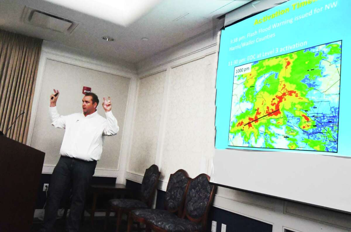 Lindner reviews flood patterns in the Houston area.