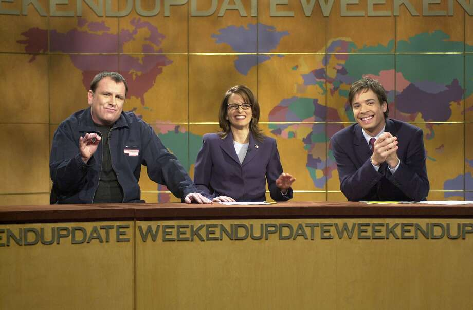 """Colin Quinn (left) appears in an October 2001 Weekend Update segment of """"Saturday Night Live"""" with Tina Fey and Jimmy Fallon. Photo: NBC"""