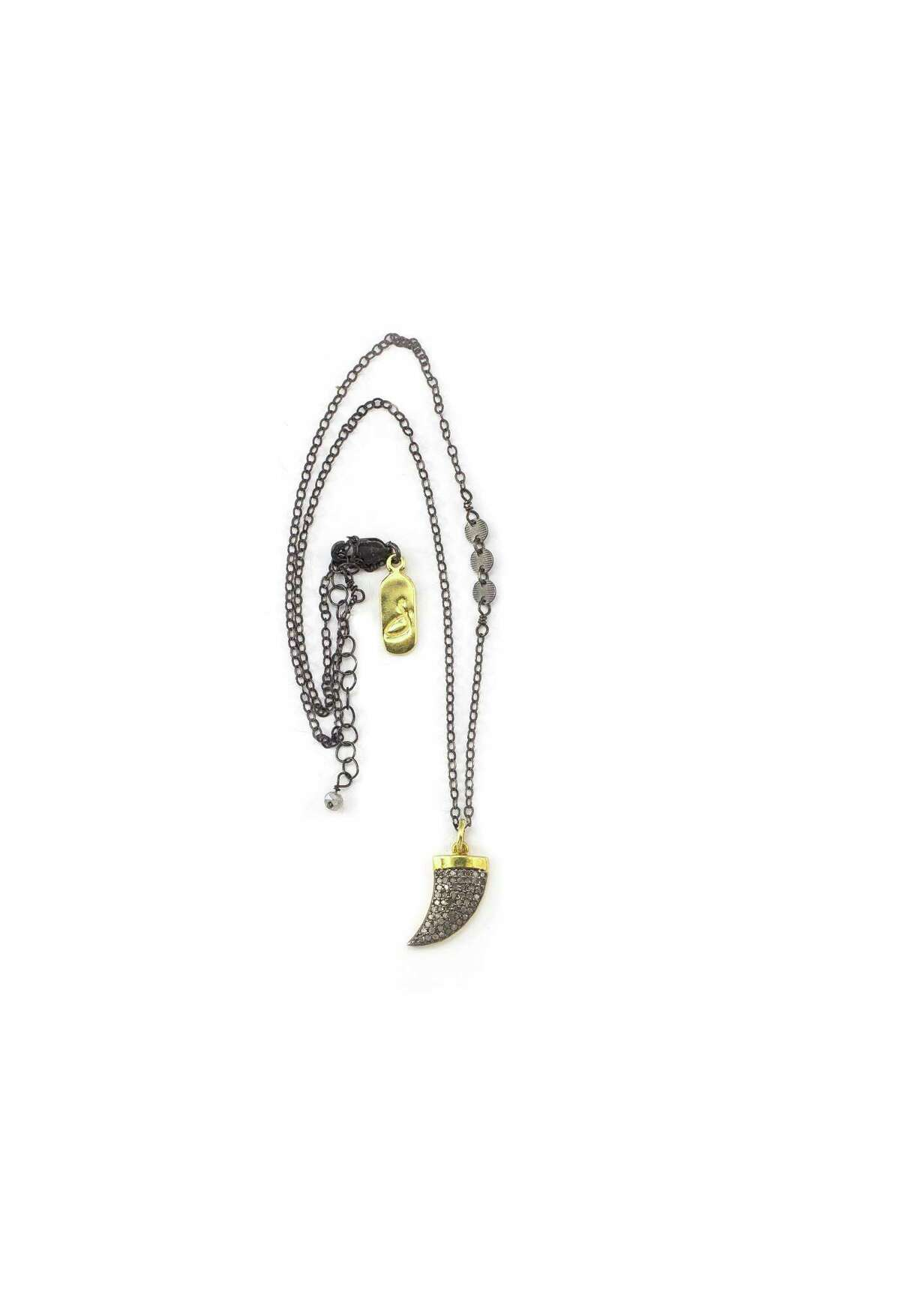 """A 16"""" Oxidized Sterling Silver Necklace with Small Diamond Horn, $155, at J. Landa in Rice Village"""
