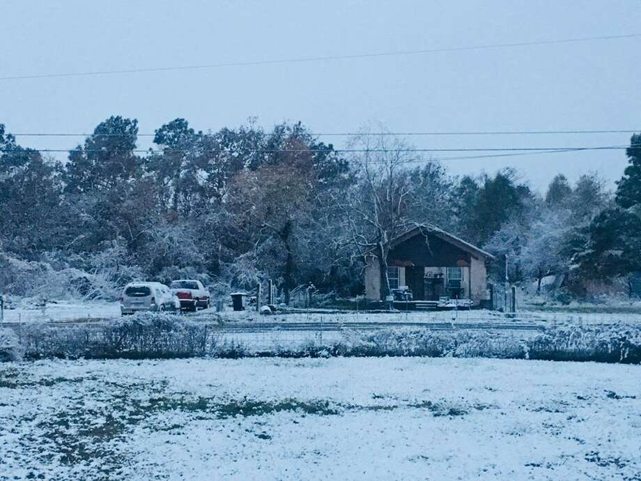 ONE YEAR AGO: Houston's snow on Dec. 7 and 8, 2017The view from Mont Belvieu.>>>See more photos from readers and staff... Photo: Heather Leighton