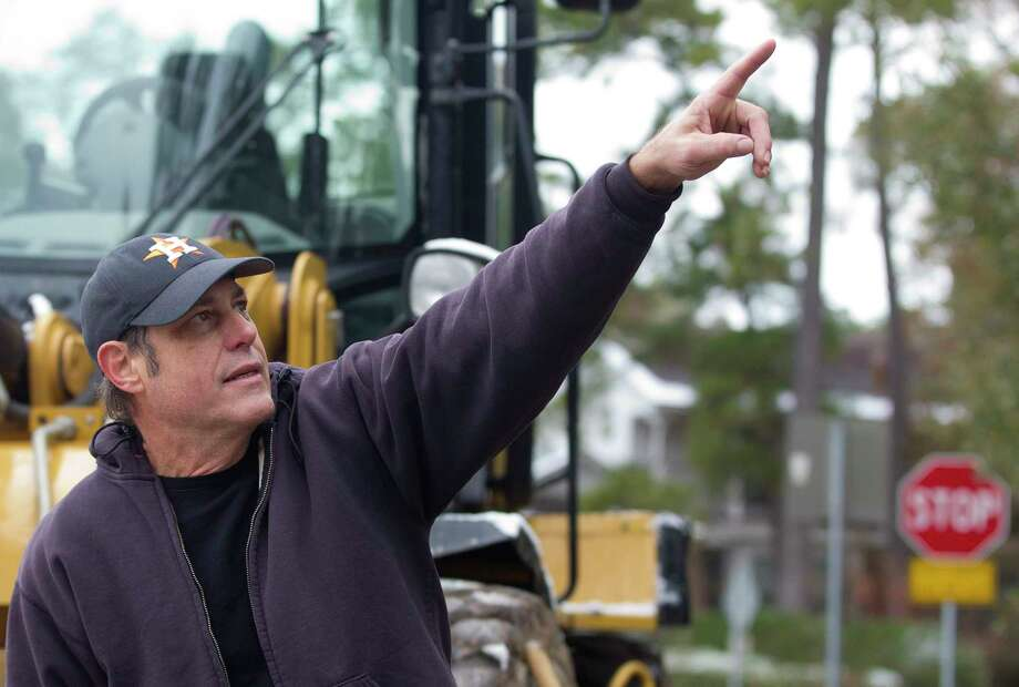 Sherwood Forest resident James Compis shares his concerns on how the clearing of the trees and brush for a new sewer line would increase noise from I-45 as well as harm nearby wildlife along Wilson Road, Friday, Dec. 8, 2017, in Conroe. Compis believes the area contains an eagle's nest and a fox den. Photo: Jason Fochtman, Staff Photographer / © 2017 Houston Chronicle