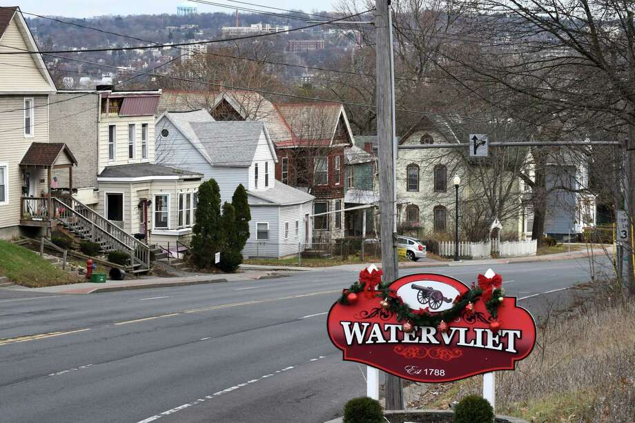 View of the Watervliet sign looking down 19th Street on Friday, Dec. 8, 2017, in Watervliet, N.Y. Watervliet instituted a 15.8 percent tax hike as it moves away from relying on its cash reserves to balance its budget. (Will Waldron/Times Union) Photo: Will Waldron, Albany Times Union