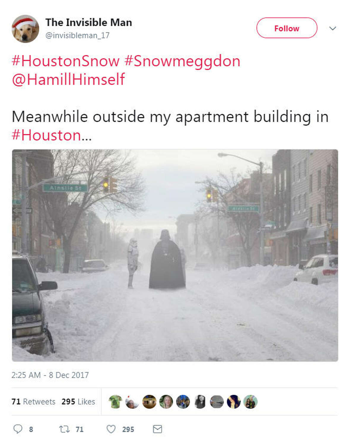 Snow has fallen in Houston and people are reacting with photos and hilarious memes on Twitter.