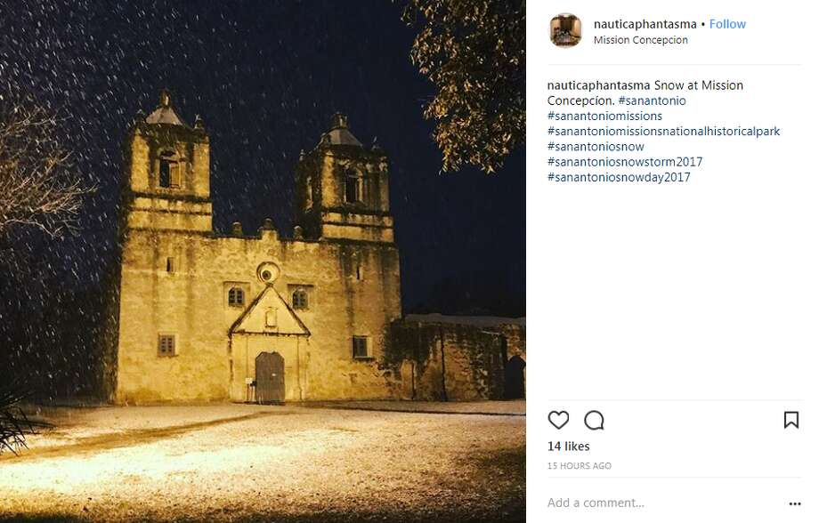Mission Concepcion nauticaphantasma: Snow at Mission Concepcíon. #sanantonio Photo: Instagram.com, Twitter.com