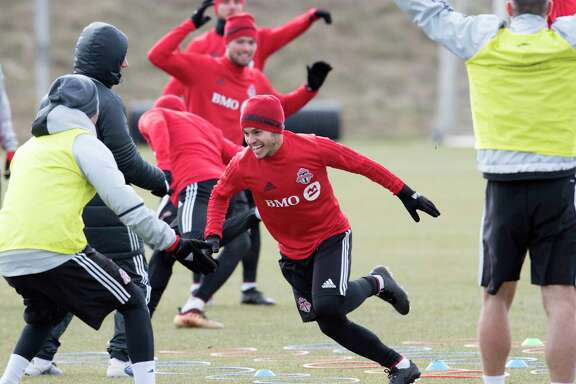 Toronto FC forward Sebastian Giovinco plays in a game during a team a practice in Toronto, Thursday Dec. 7, 2017. Toronto plays the Seattle Sounders in the MLS Cup,  Major League Soccer's championship, on Saturday. (Frank Gunn/The Canadian Press via AP)