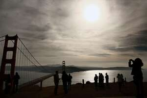 Smoke from the Southern California wildfires have made its way up the coast and settled in and around the Bay Area on Friday December 8, 2017, in San Francisco, Calif., which has triggered a spare the air day for today through Sunday.