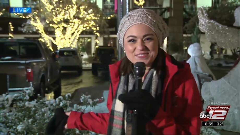 KSAT-TV's ebullient weekend meteorologist Kaiti Blake was out and about San Antonio reporting on the snow during KSAT's wall-to-wall prime-time weather coverage. Photo: Courtesy Of KSAT /