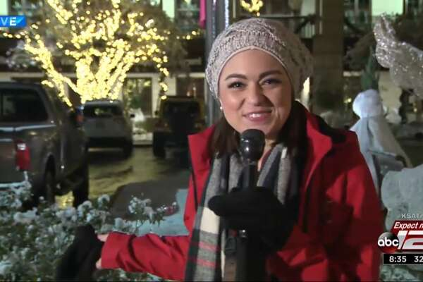 KSAT-TV's ebullient weekend meteorologist Kaiti Blake was out and about San Antonio reporting on the snow during KSAT's wall-to-wall prime-time weather coverage.