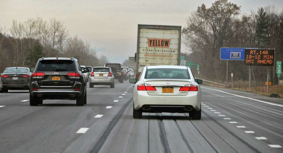 People in the five-county Albany-Schenectady-Troy metro area spent 23 minutes on average commuting one way last year, data from the Census' American Community Survey shows. In the previous survey, from 2009, the average was 22 minutes. Click though the slideshow to see the average travel time — shortest to longest— for each Capital Region locality. Photo: John Carl D'Annibale, Albany Times Union / 20042364A