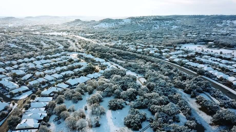 Drue Placette put his drone in action Friday morning to show how a light sprinkling of snow turned portions of San Antonio into a winter wonderland. Photo: By Drue Placette, Courtesy