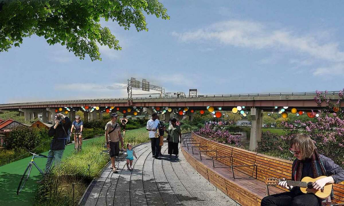 A rendering shows the proposed Albany Skyline park.