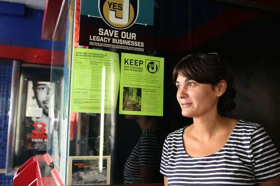 """Executive director Isabel Fondevila of Roxie Theater supports Proposition J, a measure that would provide some financial assistance for """"legacy"""" businesses struggling in the current real estate market in San Francisco, Calif., on Tuesday, October 6, 2015."""