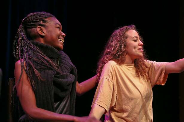 "From left: Michael Ann Conner and�Rivianna Hyatt in Playwrights Foundation's 2016 ""FlashPlays!"""