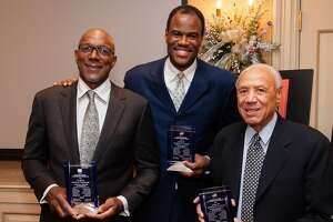 The U.S. Olympic Endowment presented the 1992 U.S. Men's Olympic Basketball Team with the George M. Steinbrenner III Sport Leadership Award. Accepting on behalf of the Dream Team were legends Clyde Drexler, David Robinson & Lenny Wilkens. Courtesy: USA Basketball