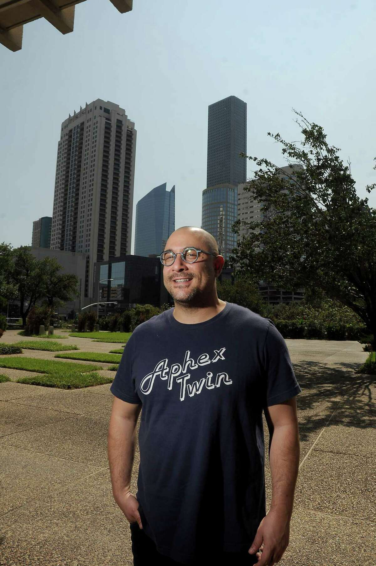 Day for Night Organizer Omar Afra outside the old downtown post office Wednesday Oct. 11, 2017.(Dave Rossman Photo)