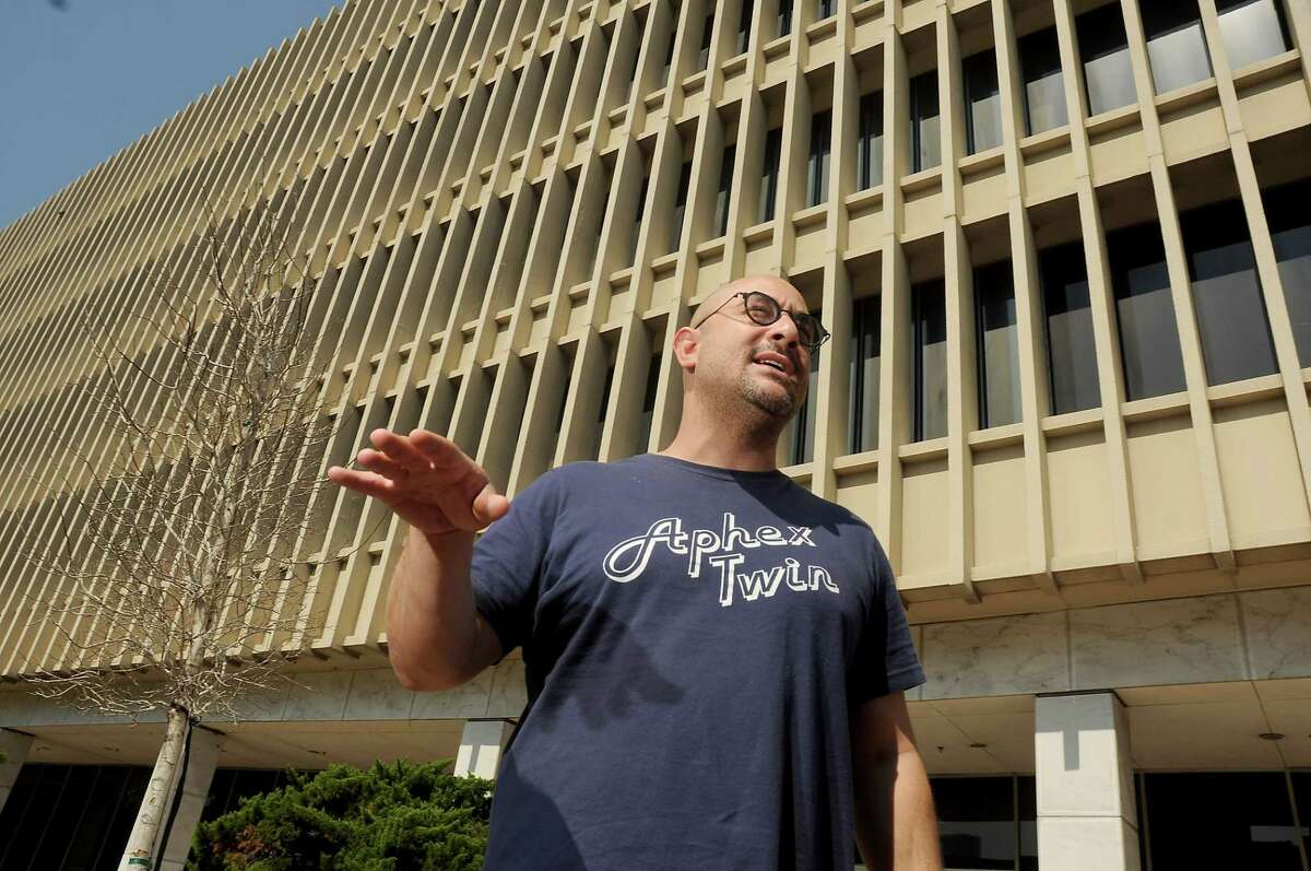 Day for Night Organizer Omar Afra talks about this year's show outside the old downtown post office Wednesday Oct. 11, 2017.(Dave Rossman Photo)