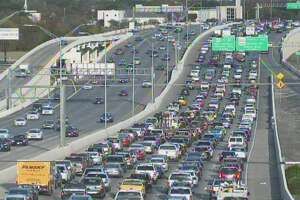 A crash is backing up traffic on Loop 410 for several miles on the North Side on Friday, Dec. 8, 2017.