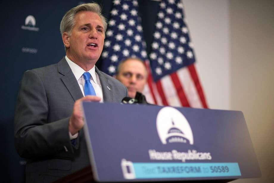 House Majority Leader Kevin McCarthy, R-Bakersfield, discusses tax legislation at a news conference on Capitol Hill. GOP tax plans would eliminate key deductions for Californians. Photo: TOM BRENNER, NYT