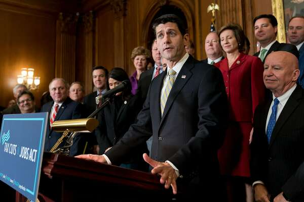 U.S. House Speaker Paul Ryan addresses a Nov. 16, 2017 news conference after the House passed a tax cut plan on Capitol Hill in Washington D.C. House Republicans are working on a multistep government funding strategy that involves a two-week stopgap measure to keep the lights on beyond Dec. 8 and fully funding defense by Christmas. (Ting Shen/Xinhua/Zuma Press/TNS)