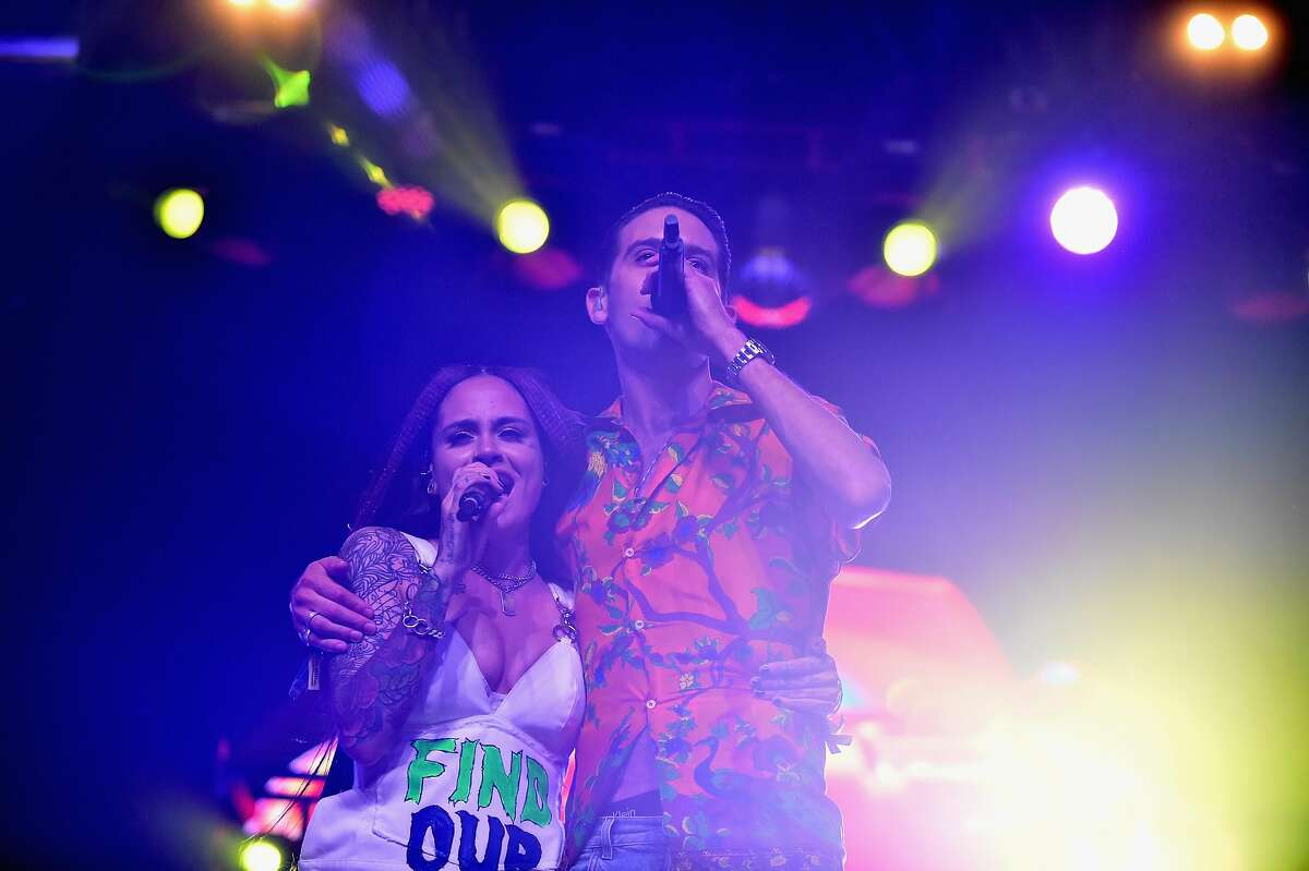 Singer Kehlani (L) and rapper G-Eazy perform on the Mojave stage during Coachella on April 16, 2017.