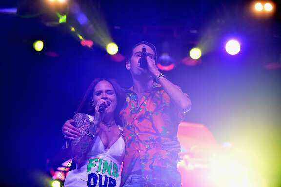 INDIO, CA - APRIL 16: Singer Kehlani (L) and rapper G-Eazy perform on the Mojave stage during day 3 of the Coachella Valley Music And Arts Festival (Weekend 1) at the Empire Polo Club on April 16, 2017 in Indio, California.