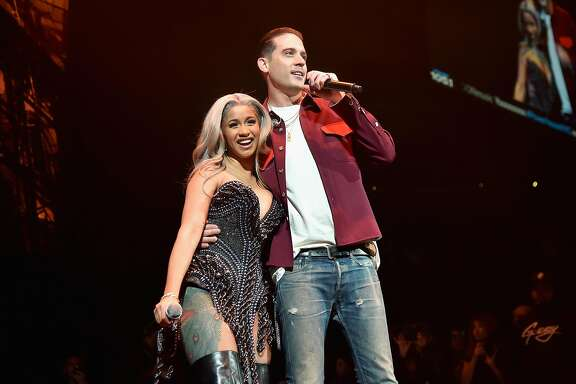 BROOKLYN, NY - OCTOBER 26: Cardi B and G-Eazy perform onstage during 105.1?s Powerhouse 2017 at the Barclays Center on October 26, 2017 in the Brooklyn, New York City City.