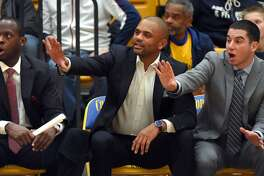 Former Sheehan and Sacred Heart star Phil Gaetano, right, is a first-year assistant at Coppin State.