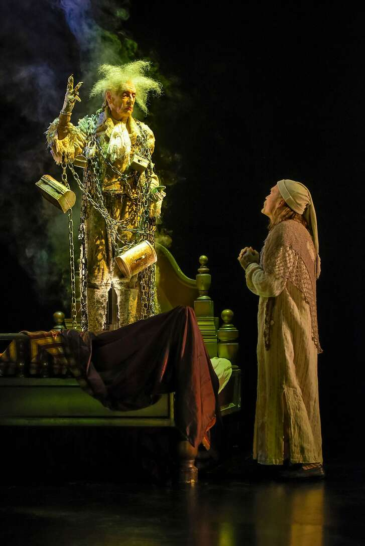 """From left: Ken Ruta as the Ghost of Jacob Marley andJames Carpenter as Ebenezer Scrooge (at select performances) in American Conservatory Theater's """"A Christmas Carol."""""""