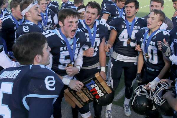 Cypress Christian's Nathan Frye (51) reacts with teammates after defeating McKinney Christian for the TAPPS Division III State Championship December 8, 2017, in Waco, Tx. (Special Contributor, Jerry Larson)