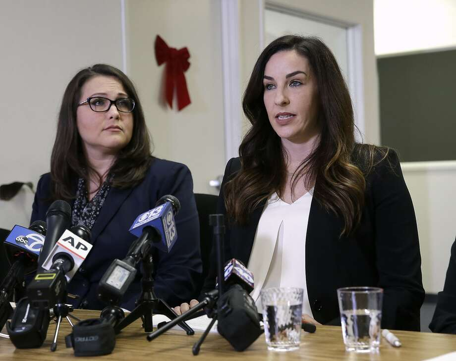 Pamela Lopez (left) and Jessica Yas Barker both accused Matt Dababneh of sexual harassment. Photo: Rich Pedroncelli, Associated Press