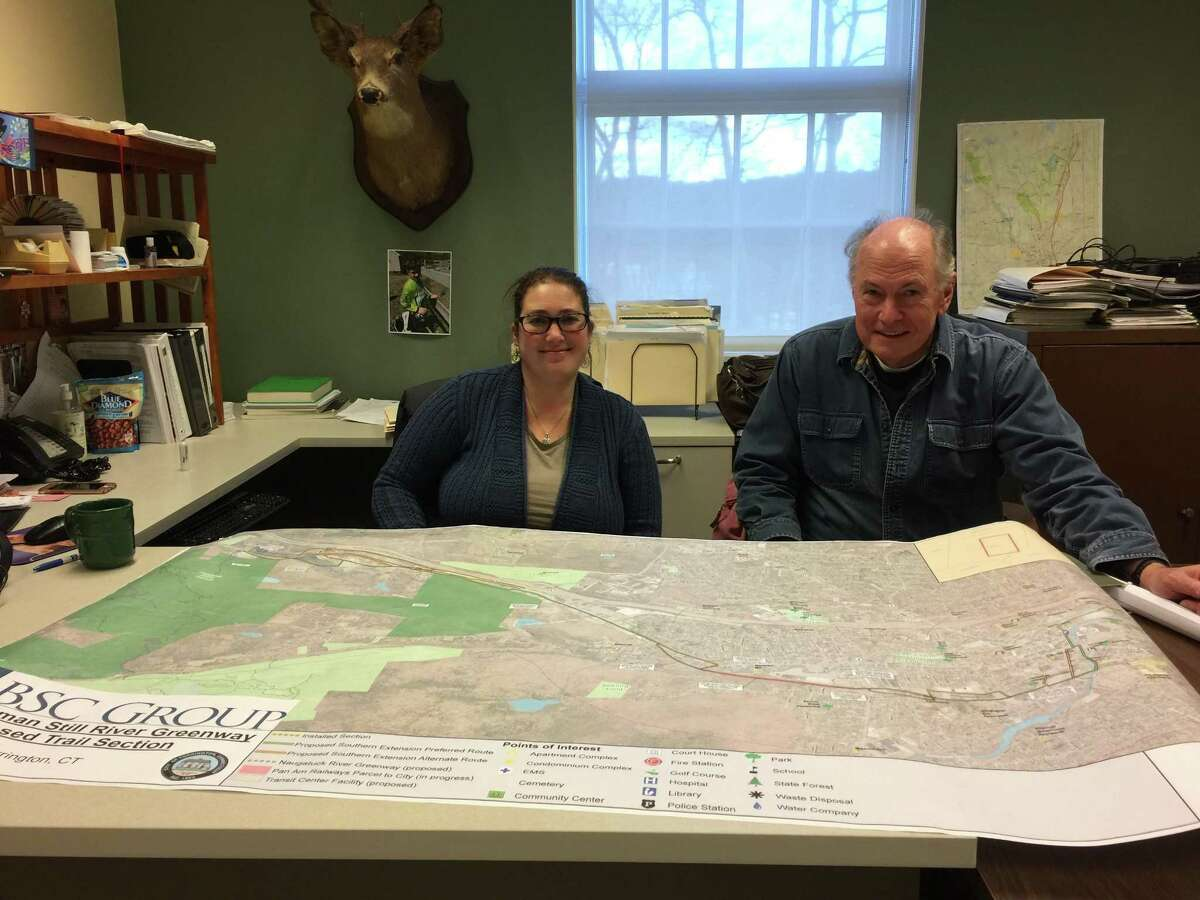 Officials are seeking input from city residents as a trail running through Torrington is planned. Above, Zoning and Wetlands Enforcement officer Rista Malanca and Torrington Trails Network member Mark Linehan.