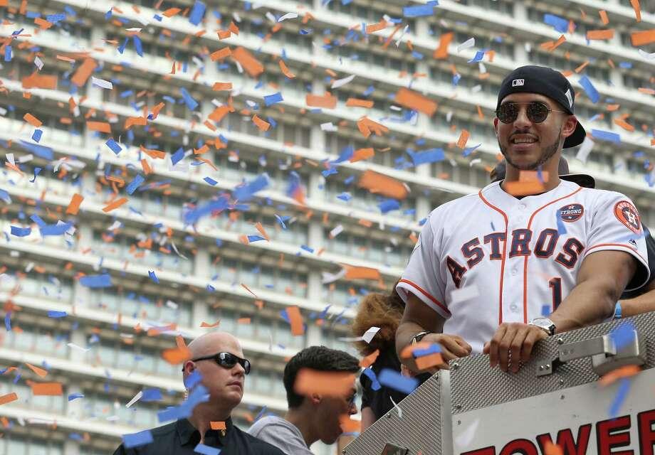 Houston Astros shortstop Carlos Correa (1) smiles during the World Series Championship parade Friday, Nov. 3, 2017, in Houston. ( Godofredo A. Vasquez / Houston Chronicle ) Photo: Godofredo A. Vasquez, Houston Chronicle / Godofredo A. Vasquez