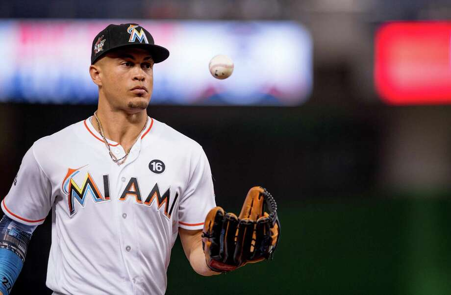Miami right fielder Giancarlo Stanton reportedly wants to play for the Dodgers. Photo: Rob Foldy/Miami Marlins / Rob Foldy / Miami Marlins / 2017 Rob Foldy/Miami Marlins