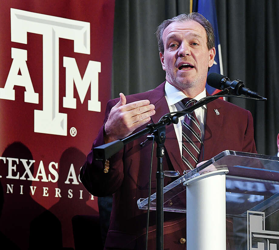 Jimbo Fisher speaks as he is introduced as Texas A&M's new head football coach,in Kyle Field's Hall of Champions Monday, Dec. 4, 2017 in College Station, Texas. Jimbo Fisher says the opportunity to coach Texas A&Ms was one he simply couldn't pass up. Fisher was lured away from Florida State, where he won a national championship in 2013, with a 10-year, $75 million contract at Texas A&M. (Dave McDermand/College Station Eagle via AP) Photo: Dave McDermand, MBR / College Station Eagle