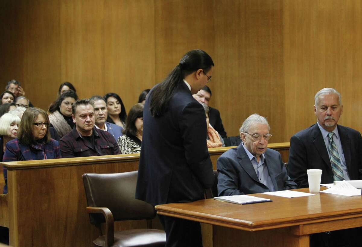 John Bernard Feit states that he will not be testifying during the sentencing phase of his trial as his attorney O. Rene Flores, center, stands beside him during his trial for the 1960 murder of Garza in the 92nd state District Court Friday, December 8, 2017, at the Hidalgo County Courthouse in Edinburg. Lynda de la Viña and Nick Cavazos, both family members of Irene Garza, sit at left. (Nathan Lambrecht/The Monitor/Pool)