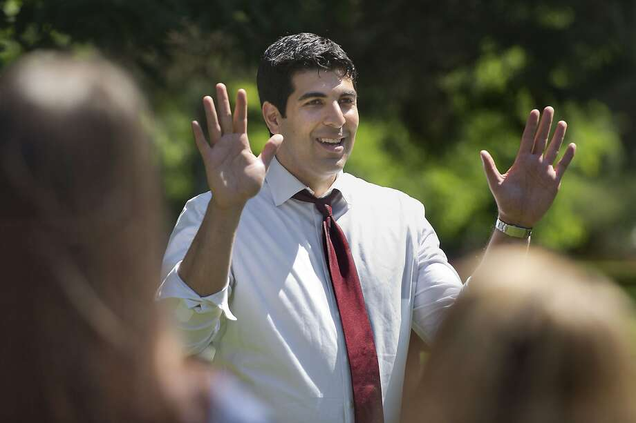 Assemblyman Matt Dababneh addresses a group of supporters in April 2014. Dababneh is resigning after a lobbyist alleged he sexually assaulted her in a bathroom. Photo: Randall Benton, Associated Press