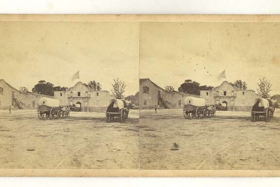 This stereograph image of the Alamo is attributed to early San Antonio photographer Henry A. Doerr. The two images looked three-dimensional when viewed through a stereoscope. Doerr probably took this photo circa 1861 or 1865, from the evidence of the U.S. flag, Alamo church roofline and carts delivering supplies to the Army Quartermaster's Depot, housed at the Alamo in those years.