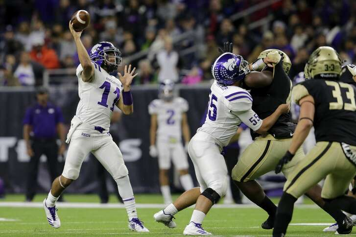 Angleton Wildcats Seth Cosme (11) throws a pass as Jacob Lantrip (55) blocks Foster Falcons nose guard Chidozie Nwankwo (90) during the high school football playoff game between the Foster Falcons and the Angleton Wildcats at NRG Stadium in Houston, TX on Friday, December 8, 2017.