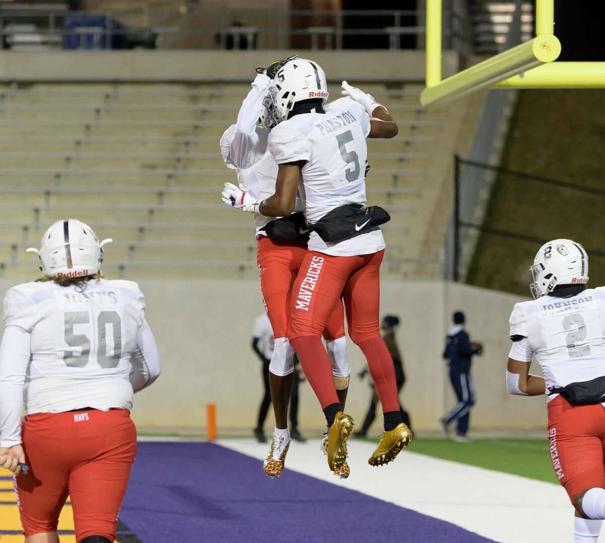 PHOTOS: Manvel vs. Temple Jalen Preston (5) of the Manvel Mavericks celebrates his touchdown in the first half against the Temple Wildcats with Kam Scott (8) in a high school football game on Friday, December 8, 2017 at Blackshear Field at Prairie View A&M University.