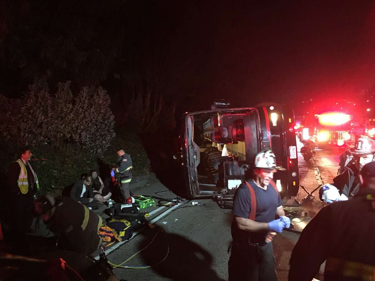 The San Francisco Fire Department has responded to an overturned bus on Hwy. 101 in San Francisco on Friday, Dec. 9, 2017.