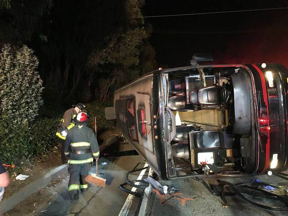 Crews respond after a bus overturned on Highway 101 just north of Cesar Chavez Boulevard in S.F.