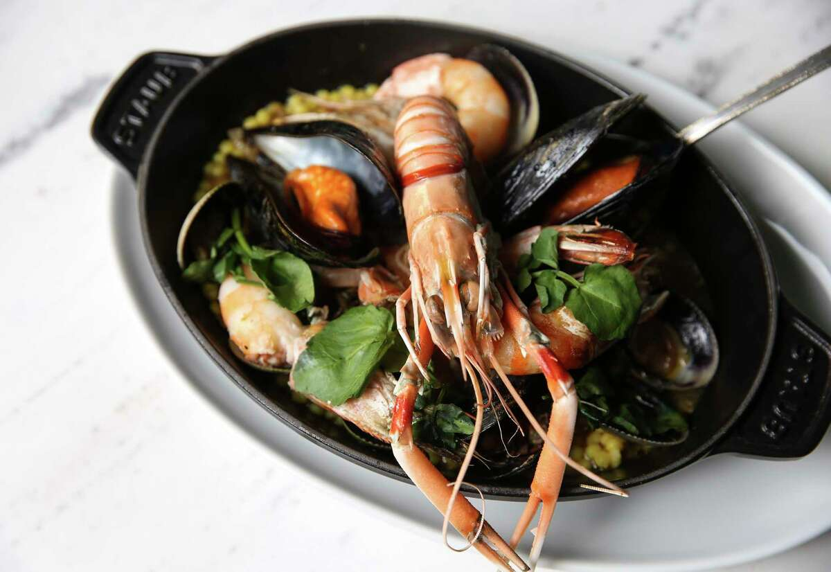 The wood-fired cioppino bianco with mussels, clams and prawns at Emmaline.