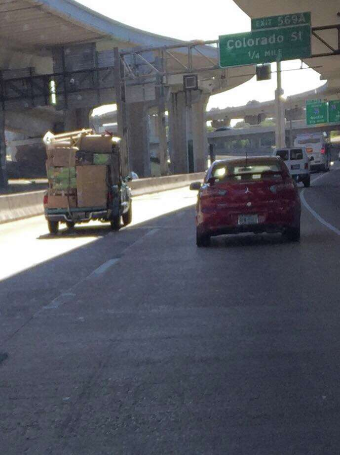 This example of bad driving was captured on the lower level of Interstate 10 near Colorado Street and posted on Facebook Friday morning, Dec. 9, 2017. Photo: Courtesy