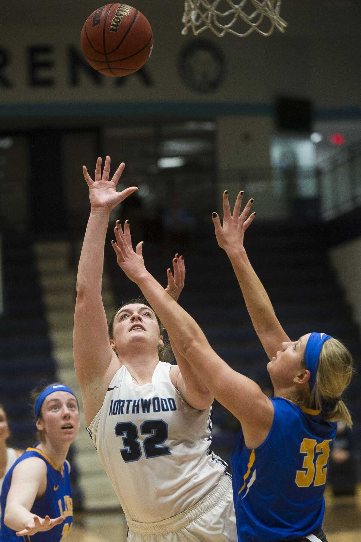 Northwood's Taylor Craymer takes a shot during the Timberwolves' game against Lake Superior State on Saturday, Dec. 9, 2017 at Northwood University. (Katy Kildee/kkildee@mdn.net)