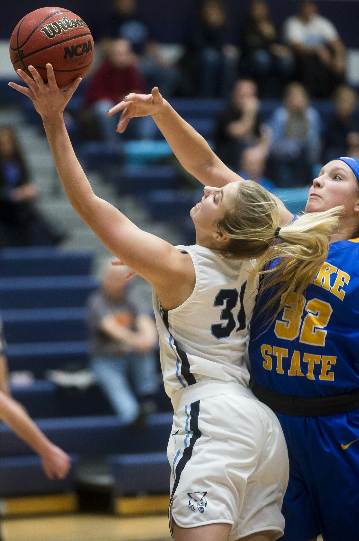 Northwood's Maddy Seeley takes a shot during the Timberwolves' game against Lake Superior State on Saturday, Dec. 9, 2017 at Northwood University. (Katy Kildee/kkildee@mdn.net)