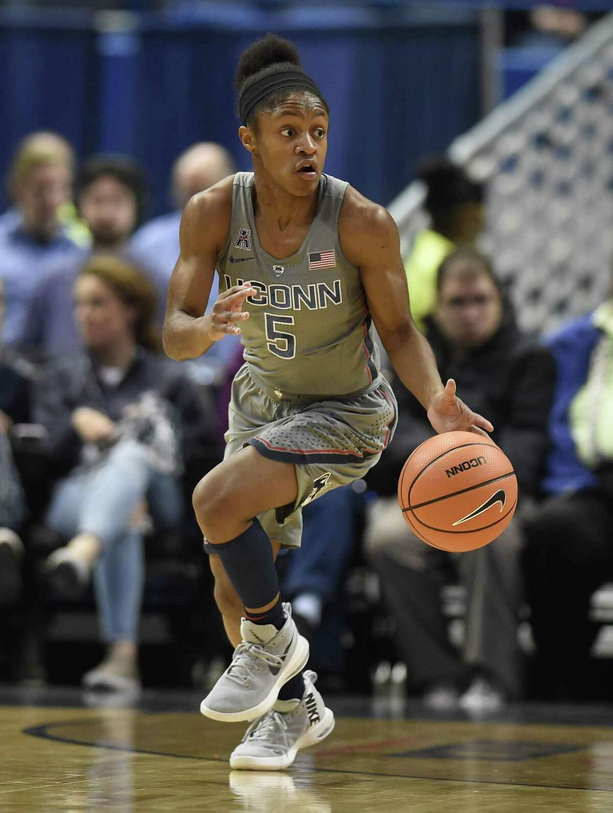 UConn's Crystal Dangerfield dribbles up court during the first half against Notre Dame on Dec 3.